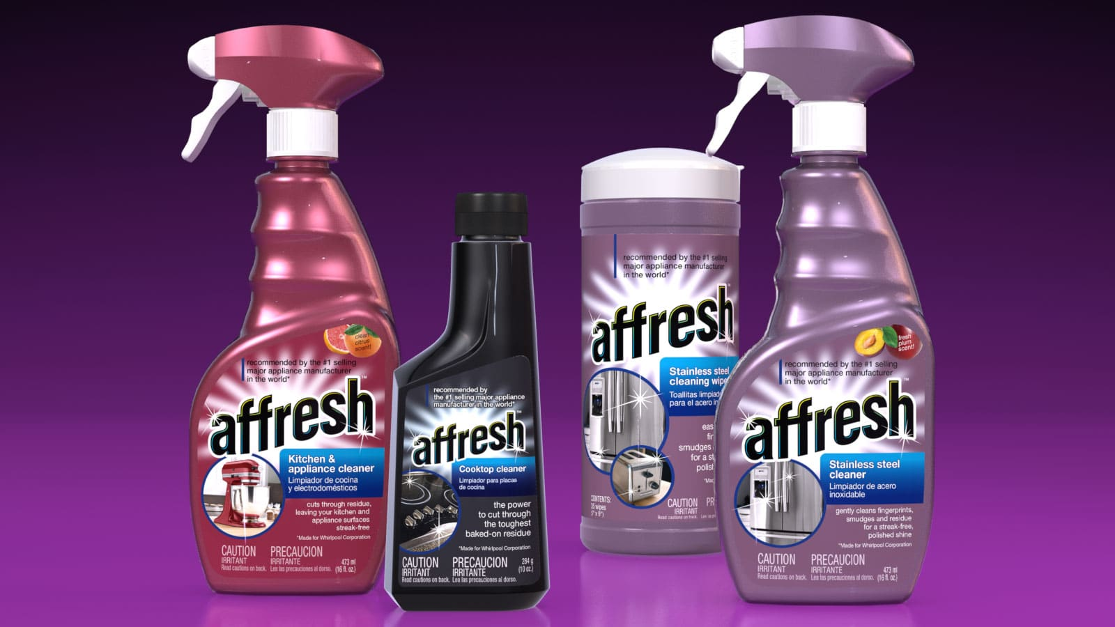affresh brand cleaning products line brand and package design